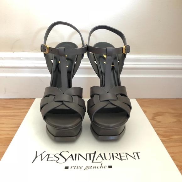 bef39362fdf YSL Tribute 105 Leather Knot Platform Sandal. NWT. Yves Saint Laurent